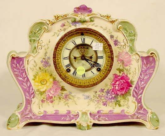 2509: Ansonia La Rita Royal Bonn China Case Clock NR
