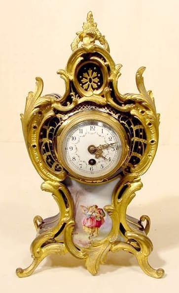 2512: French Porcelain & Bronze Table Clock NR