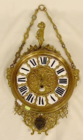 2513: French Brass Hanging Clock NR