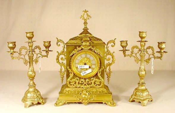 2514: Albinet & Coulon Brass 3 Pc Clock Set NR