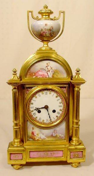 2515: Raingo Dore Bronze & Porcelain Table Clock NR