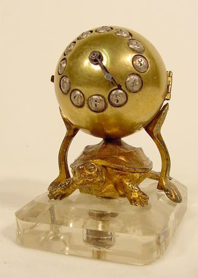 2518: French Bronzed Metal Turtle & Ball Clock NR