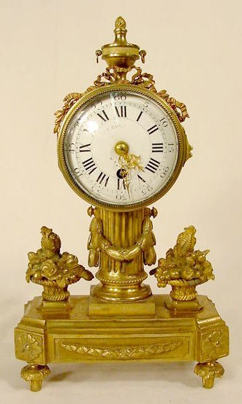 2519: French Bronze Floral & Column Clock NR