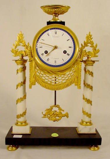 2521: Courtin French Doré Column Clock NR