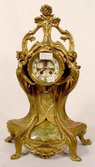 2590: Gilbert Cariatides Figural Clock NR
