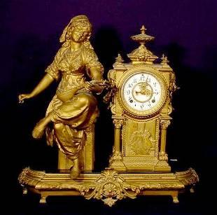 2592: Ansonia Woman With Mandolin Statue Clock NR