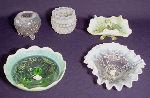 507: Five Opalescent Pattern Glass Items NR