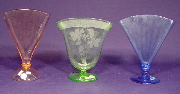 508: Three Colored Glass Fan Vases NR