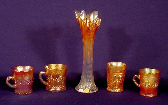 514: Five Marigold Carnival Glass Items NR