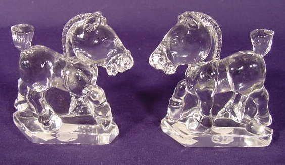 "516: Pair of Heisy ""Sparky"" Figural Glass Horses NR"