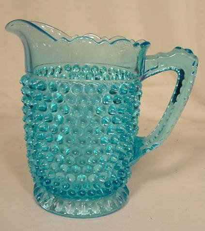 521: Blue Glass Hobnail Water Pitcher NR