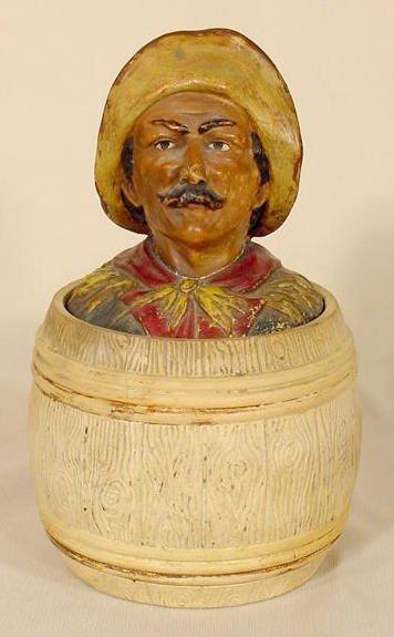 1004: Austrian Humidor: Peasant's Bust on Barrel NR