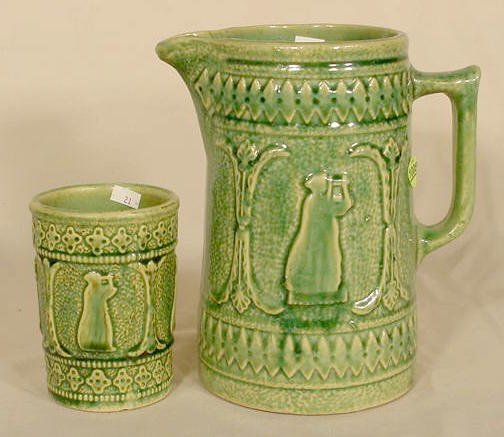 """1008: Red Wing """"Grecian"""" Stoneware Pitcher & Tumbler NR"""