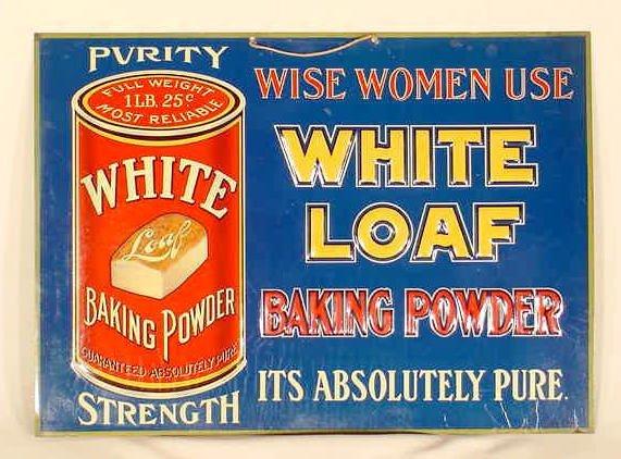 """1009: Tin Advertising Sign """"Purity Baking Powder"""" NR"""