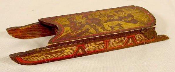 1013: German Wood Child's Sled Pencil Box NR