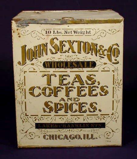 1015: 10 Pound John Sexton Tin Spice Box NR