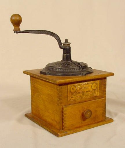 """1016: Cast Iron & Wood """"Colonial Coffee Mill # 1147"""" NR"""