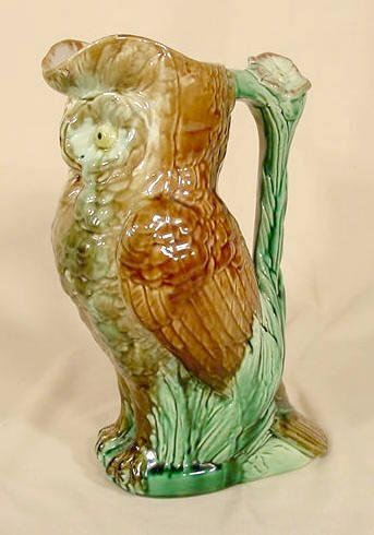 1019: Unmarked Majolica Owl Pitcher NR