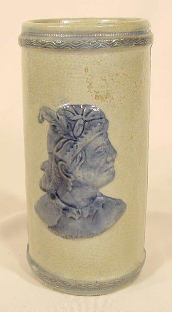 1020: Sleepy Eye Stoneware Cattail Vase NR