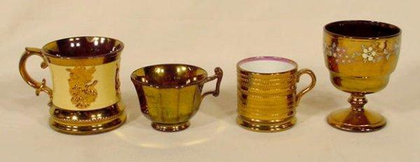 1023: Copper Lustre Goblet, 2 Mugs & Paneled Cup NR