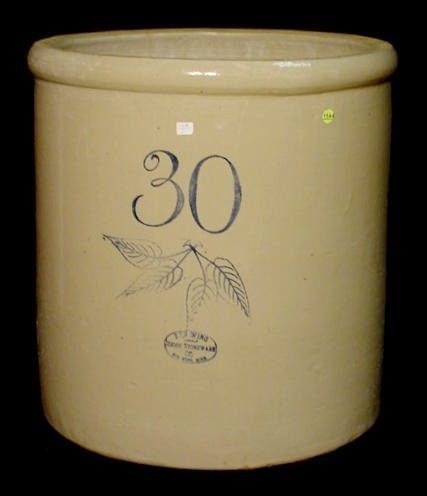 1144: 30 Gallon Birch Leaf Union Stoneware Co. Crock NR