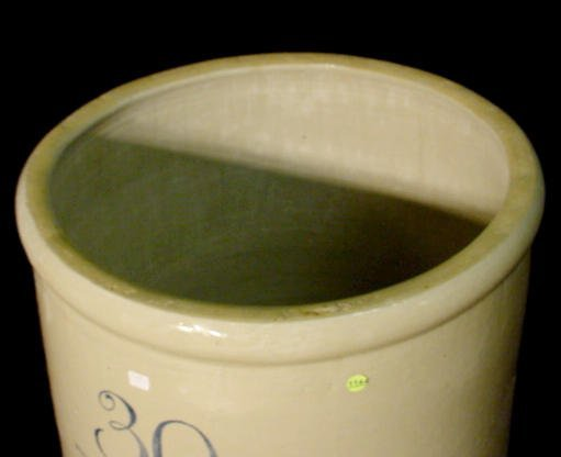 1144: 30 Gallon Birch Leaf Union Stoneware Co. Crock NR - 3