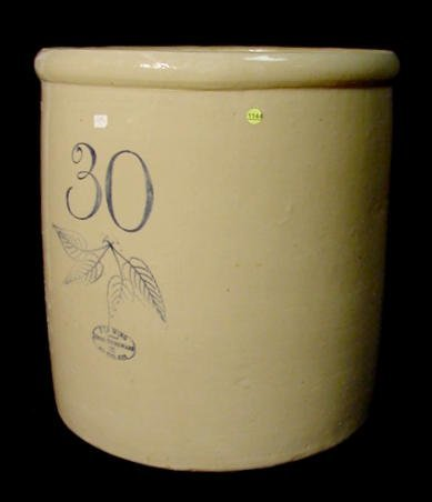 1144: 30 Gallon Birch Leaf Union Stoneware Co. Crock NR - 5