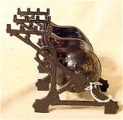 1232: Double Cast Iron Inkwell with snail wells NR