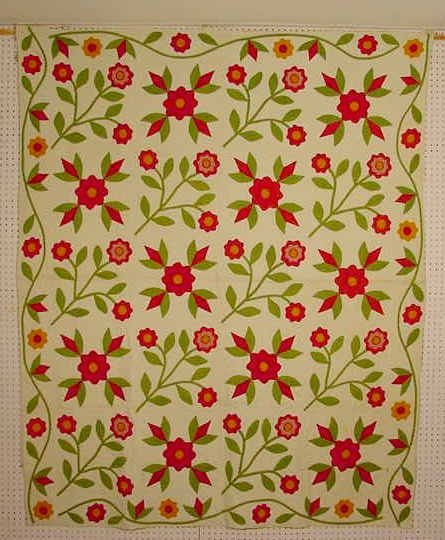 1511: Floral Applique Hand Stitched Quilt NR