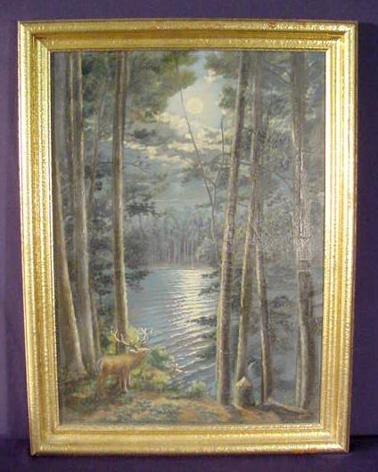 1516: JC Hansen  Elk in Moonlight Oil Painting, Canvas