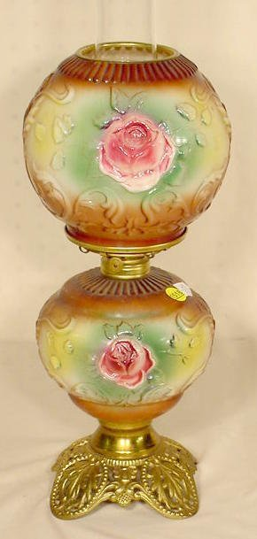 1518: Molded Roses Floral Small GWTW Lamp NR