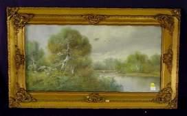 1519: Scenic Pastel in Ornate Victorian Frame NR