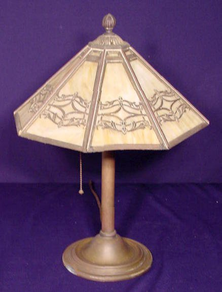 1525: Bradley & Hubbard 8 Panel Slag Glass Table Lamp