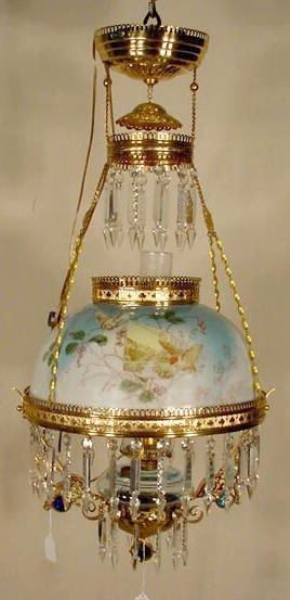 1623: Brass Bird & Berry Decorated Hanging Lamp N