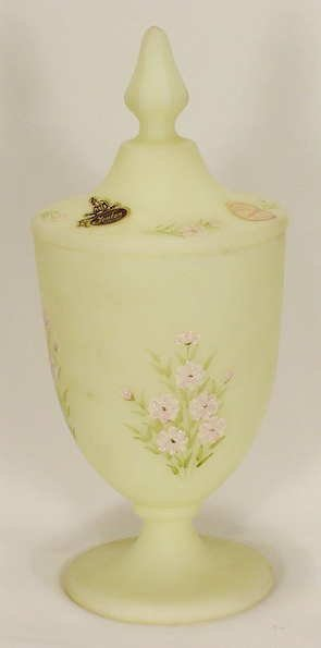 502: Fenton Custard Glass K. Haught Candy Jar