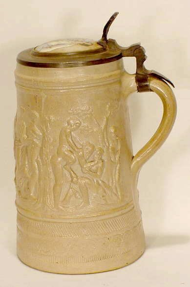 504: German Pottery Stein with Mythological Scenes