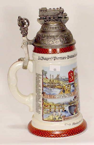 512: German Porcelain Regimental Stein with Lithophane