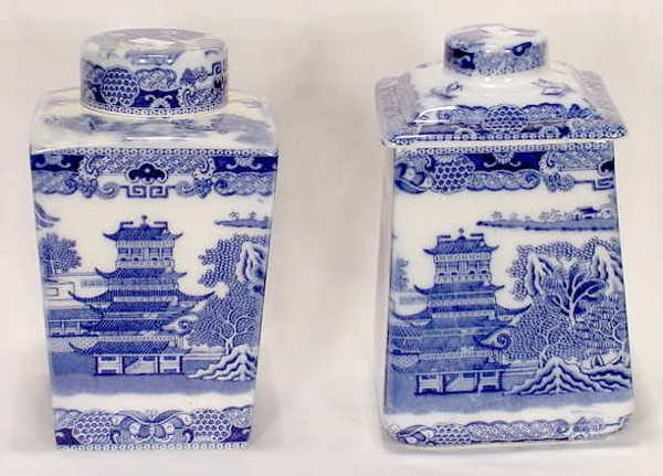 513: 2 Porcelain Blue Willow Ringtons Tea Containers