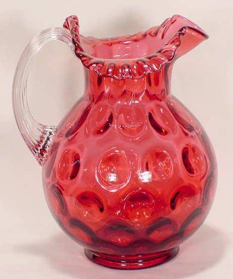 515: Deep Cranberry Thumbprint Water Pitcher Fenton