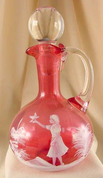 516: Mary Gregory Enamel Over Cranberry Glass Cruet