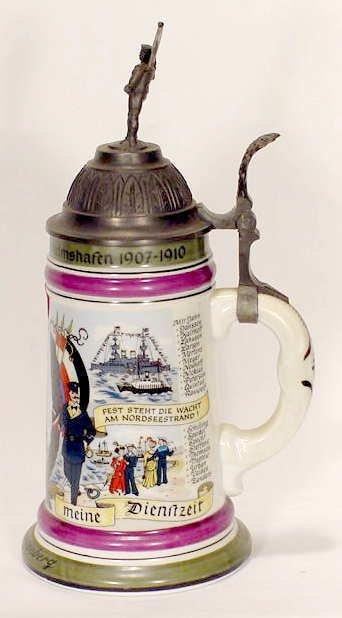 517: German Porcelain Naval Stein Lithophane Bottom