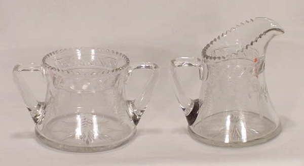 518: Etched & Cut Glass Sugar & Creamer