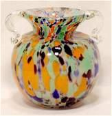 811: 2 Handled Multi-colored Art Glass Vase