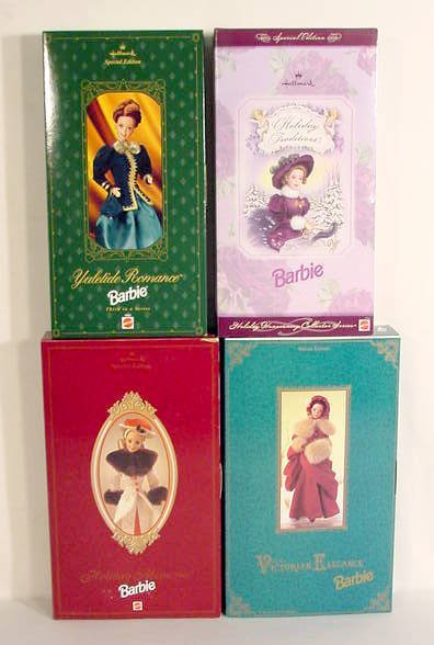 2: 4 Holiday Barbies in Original Boxes NR