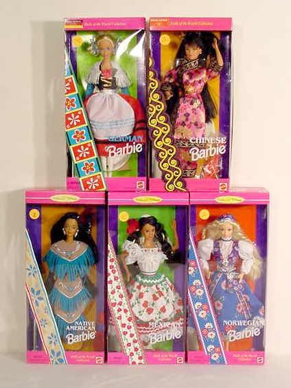 3: 5 Pink Box Barbie Dolls of the World NR