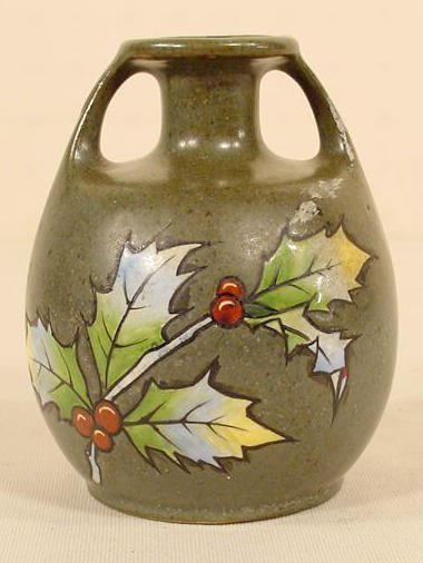 504: Marked Teplitz Holly Decorated Vase NR