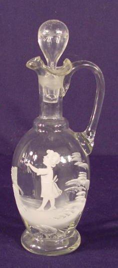 511: Clear Mary Gregory Decorated Vinegar Cruet NR