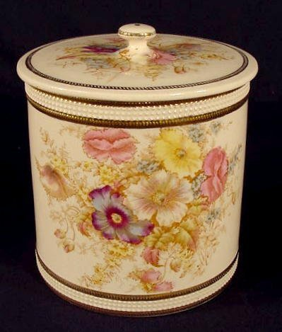 512: SF & Co. England Floral decorated Biscuit Jar NR