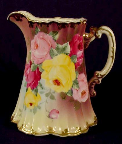 515: Kinran Nippon Floral Decorated Water Pitcher NR