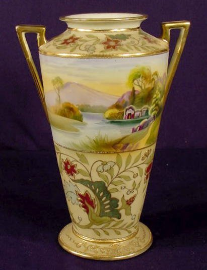 518: Marked Nippon Lake & Mountains Scene Vase NR